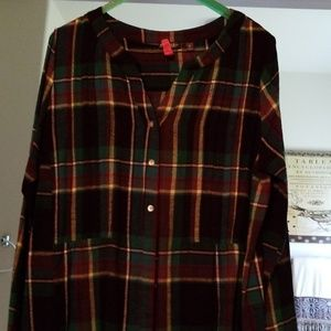 Flannel plaid tunic top